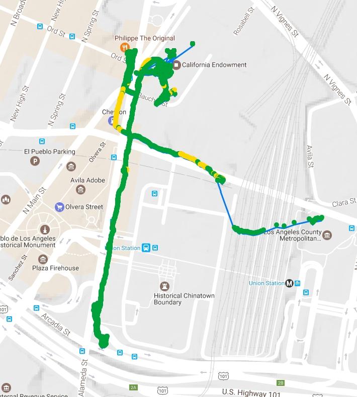 USC Environmental Health Centers, Air pollution walking tour using AirBeam. April 17, 2017