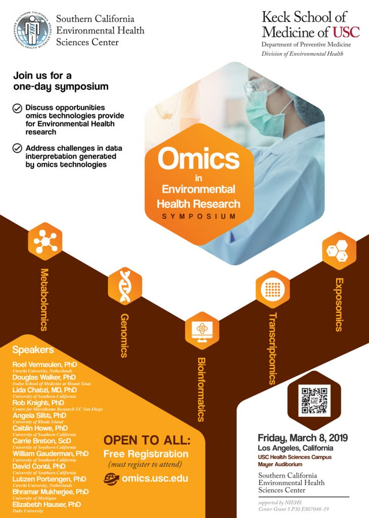 Omics in Environmental Health Research, one day symposium, March 8, 2019.  https://www.omicsusc.org/